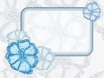Blue frame  with abstract flowers Stock Photos
