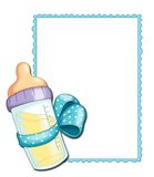 Blue frame with baby bottle stock image
