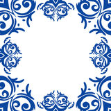 Blue frame/border in damask baroque style Stock Photos