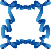 Blue frame with bow Royalty Free Stock Photos