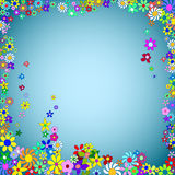 Blue Frame of Colorful Flowers Stock Photos