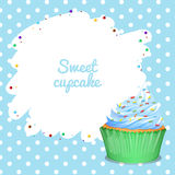 Blue frame with cupcak background Stock Image