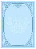 Blue Frame floral ornament. Frame with ornamental design, digital artwork, card decoration royalty free illustration