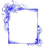Blue frame floral patterns Royalty Free Stock Images