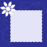 Blue frame with flower Stock Image