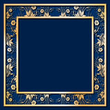 Blue Frame with golden Flowers Stock Photo