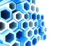 Blue frame hexagons Royalty Free Stock Photography