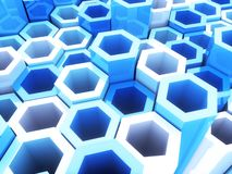 Blue frame hexagons Stock Image