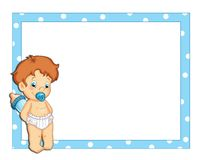 Blue frame with a male child Stock Photo