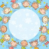 Blue frame with many kids Royalty Free Stock Photos