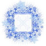 Blue frame & snowflakes Royalty Free Stock Photography