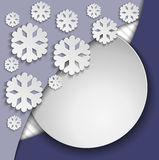 Blue frame with snowflakes Stock Image