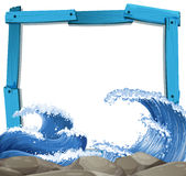 Blue frame template with giant waves background Royalty Free Stock Photo