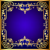 Blue frame with vegetable gold(en) pattern Stock Photo