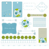 Blue frames. Blue calligraphic frames with flower and vignette Royalty Free Stock Photography