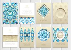 Blue frames, ornaments, patterns and golden Stock Photos