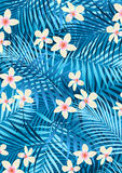 Blue frangipani. Vector illustration of tropical flowers and palm leaves Stock Photography