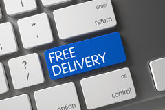 Blue Free Delivery Keypad on Keyboard. 3D. Stock Photo