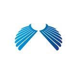 Blue freedom Wings emblem. Heraldic Coat of Arms decorative logo Stock Photo