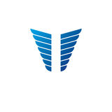 Blue freedom Wings emblem. Heraldic Coat of Arms decorative logo Royalty Free Stock Images