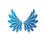 Blue freedom Wings emblem. Heraldic Coat of Arms decorative logo Royalty Free Stock Photo