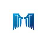 Blue freedom Wings emblem. Heraldic Coat of Arms decorative logo Stock Images