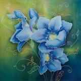 Blue freesia (batic). Blue freesia (batic on natural silk Stock Photos