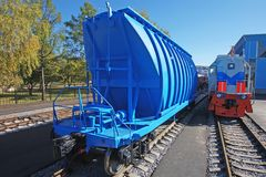 Blue freight car for loose freight and shunting Royalty Free Stock Images