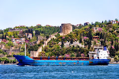 Blue freighter Royalty Free Stock Photos