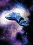 In Blue. A blue freighter travels through a blue and purple nebula Stock Photos