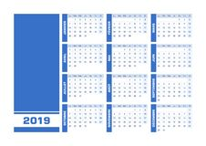 Blue 2019 French calendar. Vector illustration with blank space for your contents. All elements sorted and grouped in layers for easy edition. Printable stock illustration