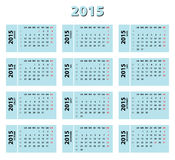 2015 blue french calendar. Weeks starting from Monday. Weeks numbers included stock illustration