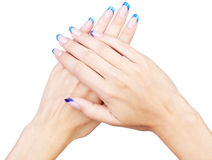 Blue french manicure Royalty Free Stock Photography