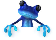 Blue frog. Cute little frog , 3D generated royalty free illustration
