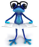 Blue frog. Cute little frog , 3D generated stock illustration