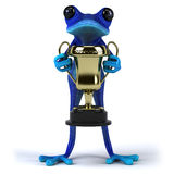 Blue frog. Cute little frog , 3D generated Royalty Free Stock Photography