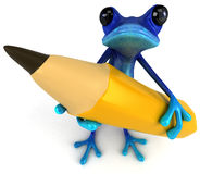 Blue frog. Cute little frog , 3D generated Royalty Free Stock Photos