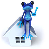 Blue frog. Cute little frog , 3D generated Stock Images