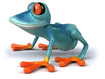 Blue frog. Cute little frog , 3D generated Stock Image