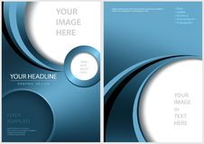 Blue Front and Back Flyer Template Stock Images