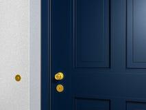 Blue front door. Detail of a classical blue front door rendering Royalty Free Stock Image