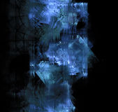 Blue frost exploding on dark glass. Black abstract background w Stock Photos