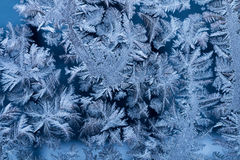 Blue frost on glass window macro Royalty Free Stock Photography