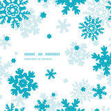 Blue Frost Snowflakes Frame Seamless Pattern Stock Images