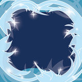 Blue vector frosty background - winter frame Stock Photos