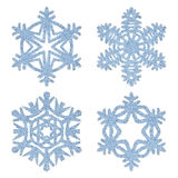 Blue frosty decorative snowflakes set Stock Images