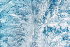 Blue Frosty Glass Ice Background, Natural Beautiful Frost Ice Pattern Stock Image