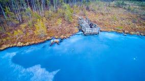 Blue frozen lake Stock Photo
