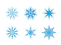 Blue frozen set of snowflakes  on white Royalty Free Stock Images