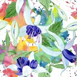 Blue fuchsia floral botanical flowers. Watercolor background illustration set. Seamless background pattern. stock illustration